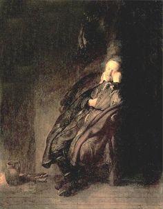 Rembrandt Harmenszoon van Rijn Old man Sleeping 1629
