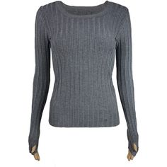 Ribbed Sweater with Thumb-hole (Grey) ($26) ❤ liked on Polyvore featuring tops, sweaters, thumb hole tops, grey long sleeve sweater, long sleeve sweaters, ribbed top and grey long sleeve top