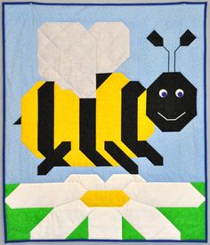 This quick and easy pattern is dedicated to my neighbor and her little Bumble Bee.  Bumble Bee Baby Quilt PATTERN by CountedQuilts on Etsy, $9.00.
