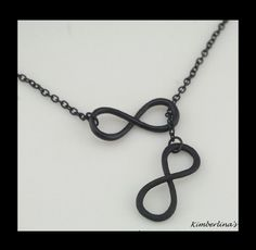 NEW - BLACK METAL DOUBLE INFINITY LARIAT STYLE PENDANT NECKLACE #Pendant