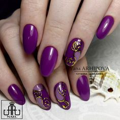 Yana Arkhipova's photos Purple Nail Art, Purple Nail Designs, Nail Polish Designs, Nail Art Designs, Beautiful Nail Designs, Beautiful Nail Art, Fancy Nails, Pretty Nails, Long Round Nails