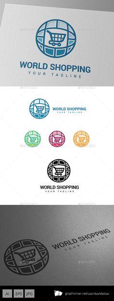 World Wide Online Shopping Market Logo Design Template Vector #logotype Download it here: http://graphicriver.net/item/world-wide-online-shopping-market-logo/8950823?s_rank=1287?ref=nexion