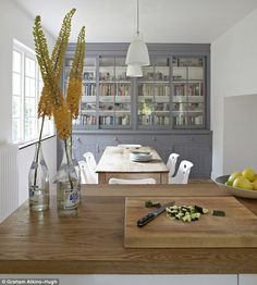 Number Fifty-Three: Mixing Antique with Modern in Home Decorating Built In Dresser, Built In Cupboards, Grey Cupboards, Kitchen Cupboards, My Home Design, House Design, Gray Interior, Interior Design, Grey Painted Kitchen