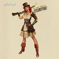 """Pin Up Steampunk Girl T-shirt. A Pinup Girl in Steam Punk Cosplay Costume wearing a Victorian Dress, with brass leather arm and a top hat with goggles on it. With the words """"Your move Steampunk!"""" and a rifle in hand this gal is not to be messed with!"""