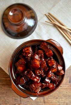 Chinese Braised Pork Belly, family secret recipe. It's so ridiculously awesome, words just can't describe. by The Woks of Life #braisedporkbelly