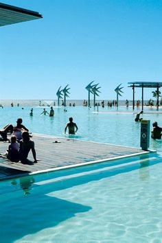 Cairns, Queensland, Australia. Salt water lagoon pool on the Cairns Esplanade. Open every day the pool has Life Guards and great picnic areas surrounding it.