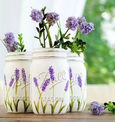 Lavender flower painted mason jars - step by step painting tutorial // Levendula mintás váza befőttes üvegből - festés lépésről lépésre // Mindy - craft tutorial collection