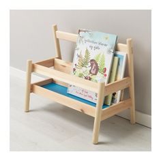 FLISAT Book display IKEA This book display lets your child collect and reach their books without your help. Ikea Book, Nursery Book, Recycling, Toddler Books, Ikea Toddler Room, Ikea Kids Room, Toddler Bed, Solid Pine, Bedroom Storage