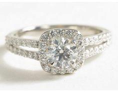 1 Carat Diamond Split Shank Halo Diamond Engagement Ring | Blue Nile Engagement Rings