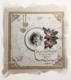 Et par enkle kort til salgskurven på jobben. Maja Design ark på kraftkartong, englebilder og pyntet med bånd, blomster, blader, perler og...