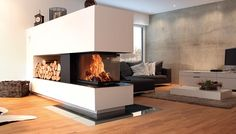Kamin als moderner Raumtrenner Fireplace as a modern room divider Fireplace Shelves, Home Fireplace, Fireplace Design, Fireplace Modern, Wood Shelves, Fireplaces, Living Room Decor, Living Spaces, Bedroom Decor