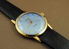 Vintage HMT Sona Hand Wind 17J India Mechanical Watch Blue Dial Gold Plated Case #HMT #Casual