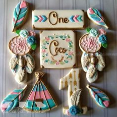 Boho First Birthday Party Cookies! https://www.etsy.com/listing/260537837/baby-onesie-boho-baby-clothes-bohemian?ref=shop_home_active_13