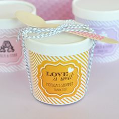 How adorable are these 'Love is Sweet' Mini Ice Cream Containers (EB2379W) - Perfect for a fun wedding favor, or especially for an ice cream bar at your #wedding!