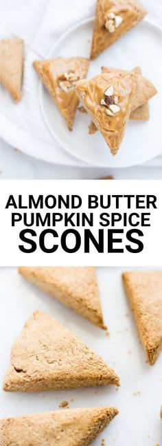 Mini Almond Butter Pumpkin Spice Scones: A three-bite vegan and gluten free scone that's spiked with fall flavors! Naturally sweetened and topped with a creamy maple almond butter icing, you can enjoy these scones for breakfast, a snack, or dessert!    fooduzzi.com recipe