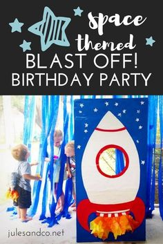 Ready to blast off for an awesome boy's birthday party? Check out our take on a space themed birthday party. Make a spaceship photo booth, plastic bottle rocket backpacks, astronaut play ideas, and more! 3-2-1-Blast Off! Rocket Birthday Parties, Birthday Party Themes, Birthday Blast, Birthday Diy, Nasa Party, Theme Galaxy, Astronaut Party, Astronaut Birthday Party Ideas, 5th Birthday Ideas For Boys