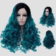 Fluffy Curly Synthetic Trendy Black Turquoise Gradient Long Universal Party Wig For Women