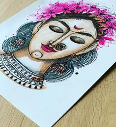 Rajasthani Art, Doodle Art Designs, Butterfly Coloring Page, Goddess Tattoo, Indian Art Paintings, Ink Pen Drawings, Angel Art, Mandala Design, Geometric Art