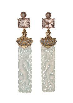 Translucent White Jade Ear Pendants