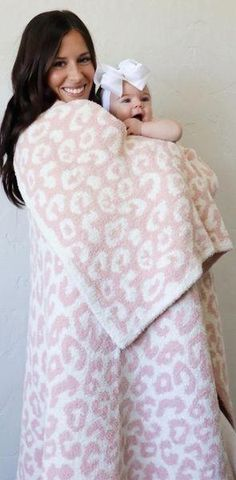 Keep Me Warm Pink Leopard Blanket - Gray