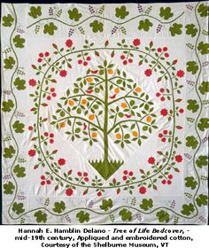 Tree of Life Medallion Pattern, made by Hannah Elizabeth Hamblin Delano… Antique Quilts, Vintage Quilts, Vintage Textiles, Fall Quilts, Appliqué Quilts, Medallion Quilt, Civil War Quilts, Green Quilt, Embroidery Applique