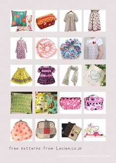 Free Japanese Sewing Patterns - lecien.co.jp