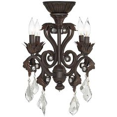 4-Light Oil-Rubbed Bronze Chandelier Ceiling Fan Light Kit - #4G154 | Lamps Plus