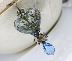 Jewelry - Glass Heart Necklace Lampwork Handmade OOAK by JewelsByLDesigns, $210.00