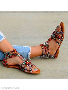 4dc4c487a Floral Flat Ankle Strap Peep Toe Casual Gladiator Sandals - berrylook.com