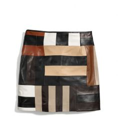 The Patchwork Leather Slouchy Mini Skirt from #Coach