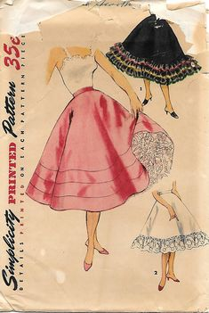 Simplicity 4685 1950s Misses Petticoat with Ruffles Vintage