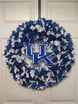 Kentucky Wildcat rag wreath...easy to make....cut 3x3squares with pinking shears and stuff into a straw wreath with knitting needle!! Decorate as u wish!