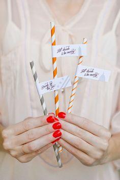 Free Printable Wedding Drink Flags #gray #orange