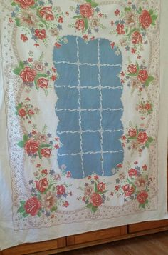 1950's Shabby Chic Style Blue and Pink Roses Table by MADkiddie