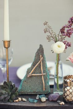 Gorgeous oversized crystals as table numbers. Found on Love is a Big Deal #crystals #tablenumbers