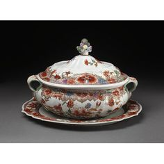 Tureen with cover and stand Place of origin:Doccia, Italy (made)Date:ca. 1755-1760 (made)Artist/Maker:Doccia porcelain factory (manufacturer)Materials and Techniques:Hard-paste porcelain painted with enamels, gilded and moulded