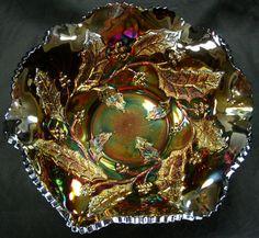 99 CENT AUCTION!! Rare Antique Millersburg John Fenton Radium Carnival Glass HOLLY WHIRL Amethyst Bowl NO DAMAGE!!! (Circa: 1909-1911)