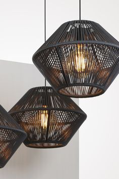 Caleta by studio davidpompa, handwoven PVC. Caleta lighting collection creates an interesting light flare through the hand woven structure. Interior Lighting, Lighting Design, Room Lights, Ceiling Lights, Deco Luminaire, Dining Room Light Fixtures, Boutique Deco, Diy Home Crafts, Lamp Design