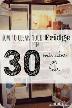 Is your fridge so dirty that you are overwhelmed at cleaning it? Here is how I clean my fridge in 30 minutes or less - once you do this you will never be overwhelmed again!