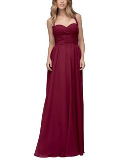 DescriptionWtoo by Watters Style 103Full length bridesmaid dressSweetheart halter necklineRouched bodiceChiffon