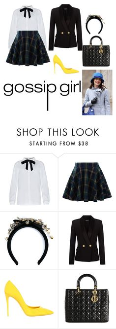"""Blair Waldorf costume"" by zainpassed ❤ liked on Polyvore featuring Chicwish, Dolce&Gabbana, Balmain, Christian Dior, blairwaldorf, gossipgirl, schoolclothes, tomtop and blairwaldorfcostume"