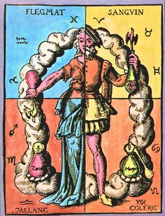 Four Humors, from Book of Alchemy by Thurn-Heisser, Leipzig, Germany, 1574. Illustrating the four humors with a half male and half female figure.