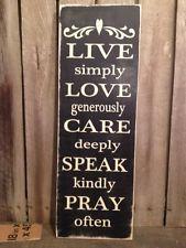 Country Primitive Handmade Wooden Live Love Care Sign Farmhouse  Decor