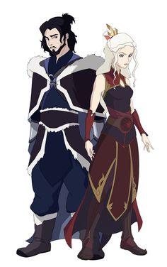 Waterbender Jon Snow and Firebender Daenerys Targaryen from Game of Thrones