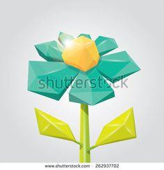low poly azure spring flower. flower background. flower logo design element