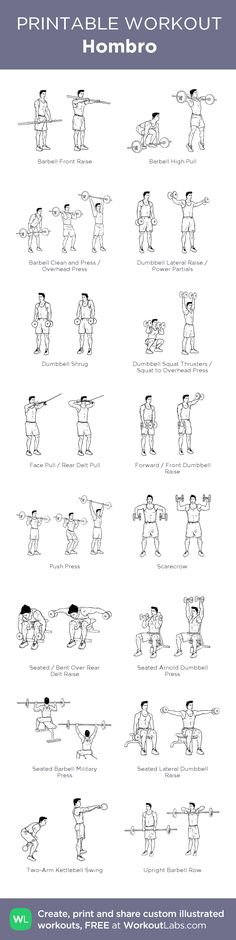 Hombro: my visual workout created at WorkoutLabs.com • Click through to customize and download as a FREE PDF! #customworkout