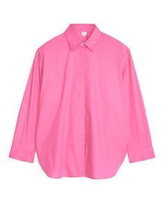 Relaxed Poplin Shirt White Shirts, Pink Shirts, Mother Of Pearl Buttons, Bright Pink, Poplin, Shirt Blouses, Sleeve Styles, Hemline, Street Style