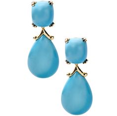 Mish Simple Box turquoise earrings with a pagoda enhancer drop set in 18k yellow gold.