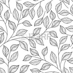 Illustration of Vector Seamless Contour Floral Pattern. Hand Drawn Monochrome Floral Texture, Decorative Leaves, Coloring Book vector art, clipart and stock vectors. Boho Pattern, Pattern Art, Design Floral, Motif Floral, Floral Patterns, Textile Patterns, Pattern Design Drawing, Decorative Leaves, Floral Texture