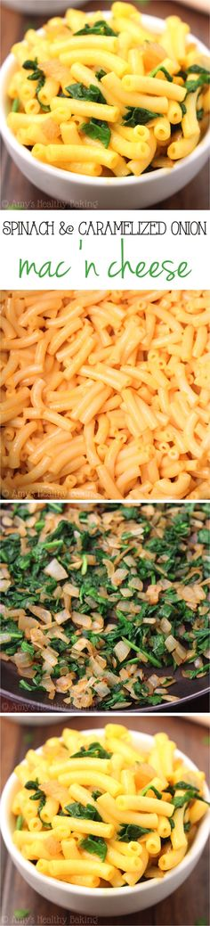 Spinach & Caramelized Onion Mac 'n Cheese -- a quick & easy dinner with just 5 ingredients! You won't miss the calories in this skinny, lightened-up version!